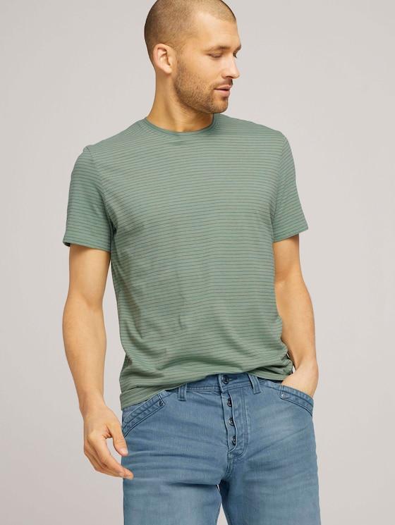 T-Shirt mit Streifenmuster - Männer - mint green grindle melange - 5 - TOM TAILOR