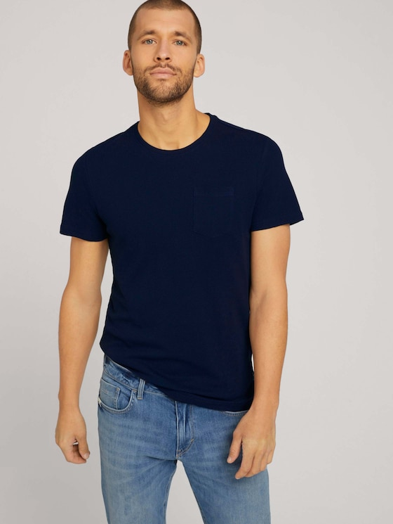 Strukturiertes T-Shirt - Männer - Dark Blue - 5 - TOM TAILOR