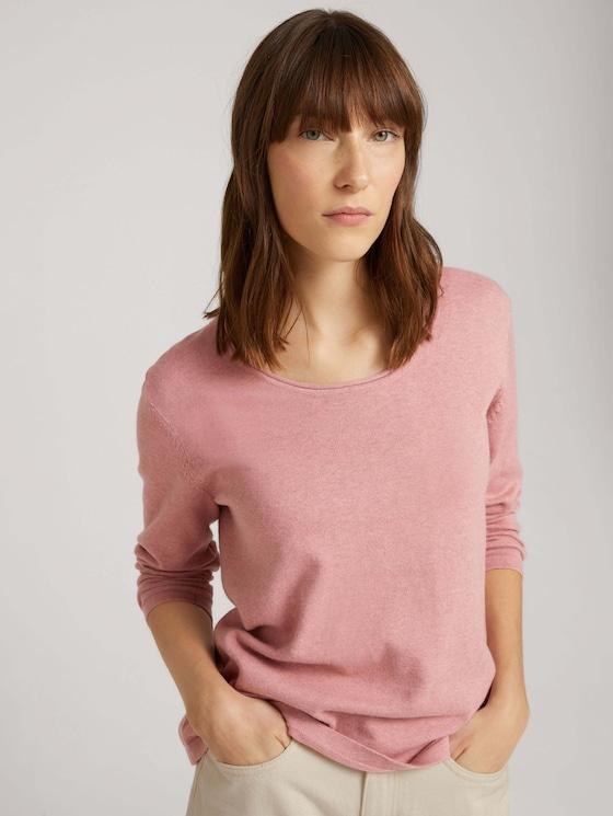 Knitted cotton sweater - Women - blush rose melange - 5 - TOM TAILOR