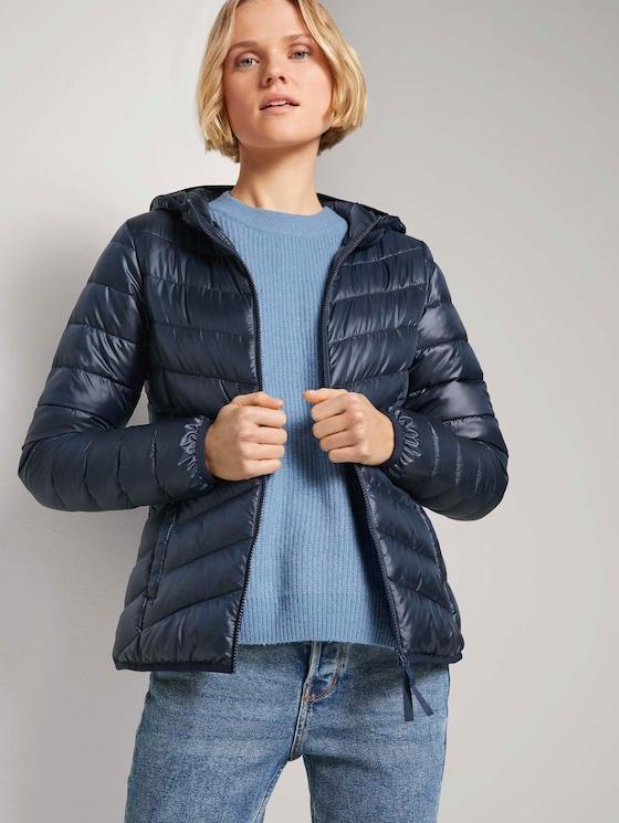 Lichtgewicht gewatteerde jas met hoodie - Vrouwen - Sky Captain Blue - 5 - TOM TAILOR Denim