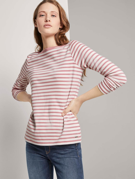 Gestreiftes Langarmshirt mit Bio-Baumwolle - Frauen - rose white stripe - 5 - TOM TAILOR Denim