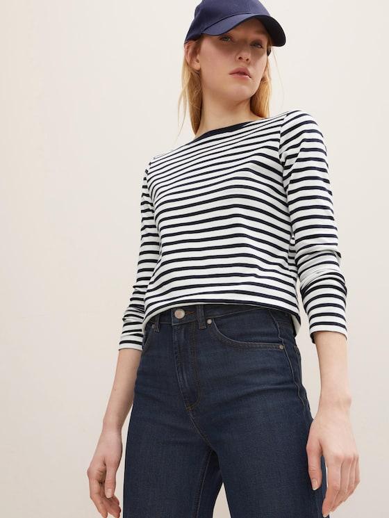 Gestreiftes Langarmshirt mit Bio-Baumwolle - Frauen - navy white stripe - 5 - TOM TAILOR Denim