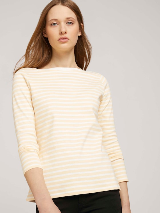 Gestreiftes Langarmshirt  mit Bio-Baumwolle    - Frauen - white yellow stripe - 5 - TOM TAILOR Denim