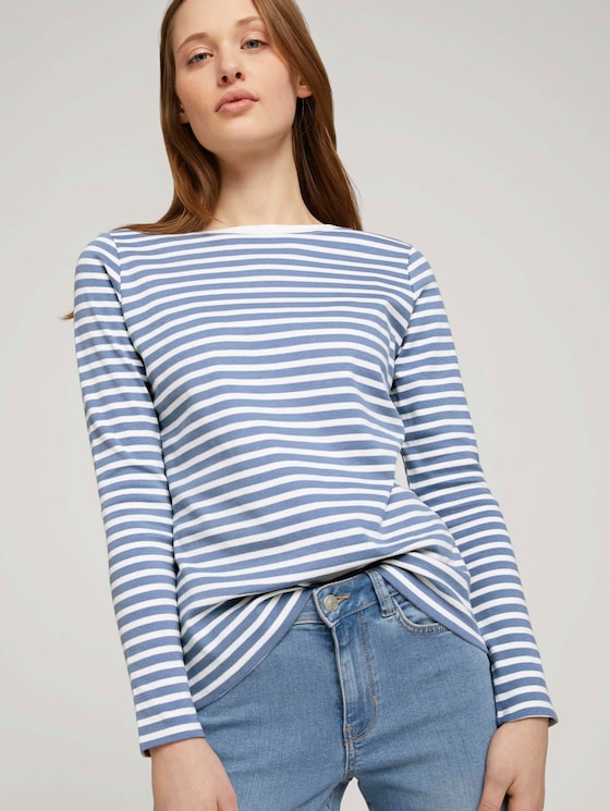 Gestreiftes Langarmshirt mit Bio-Baumwolle  - Frauen - white blue stripe - 5 - TOM TAILOR Denim