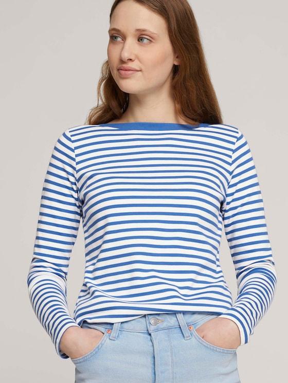 Gestreept shirt met lange mouwen - Vrouwen - mid blue white stripe - 5 - TOM TAILOR Denim