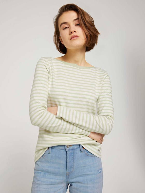 Gestreiftes Langarmshirt mit Bio-Baumwolle - Frauen - pine green white stripe - 5 - TOM TAILOR Denim