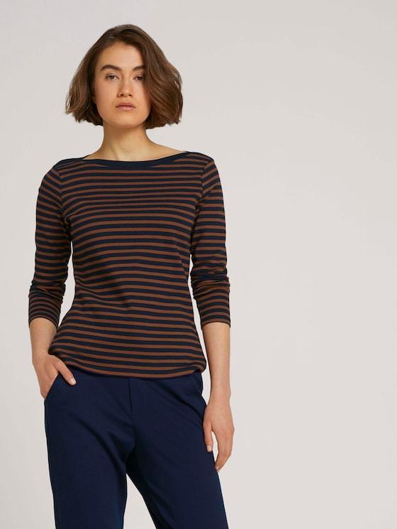 Gestreiftes Langarmshirt mit Bio-Baumwolle - Frauen - blue brown stripe - 5 - TOM TAILOR Denim