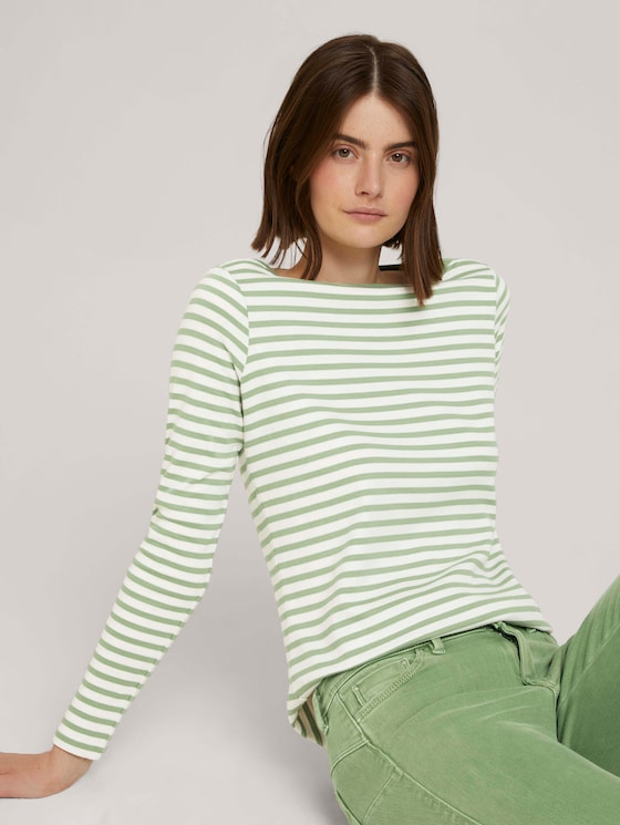 Gestreiftes Langarmshirt mit Bio-Baumwolle - Frauen - green white stripe - 5 - TOM TAILOR Denim