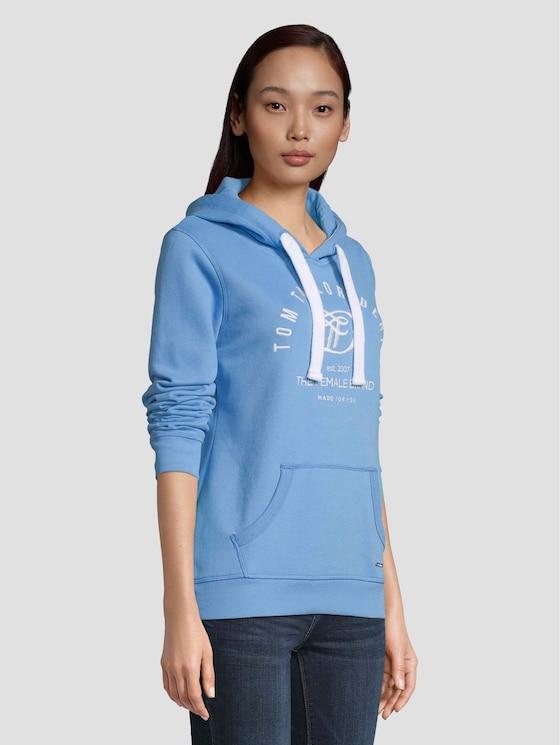 Hoodie mit Print - Frauen - fresh mid blue - 5 - TOM TAILOR Denim