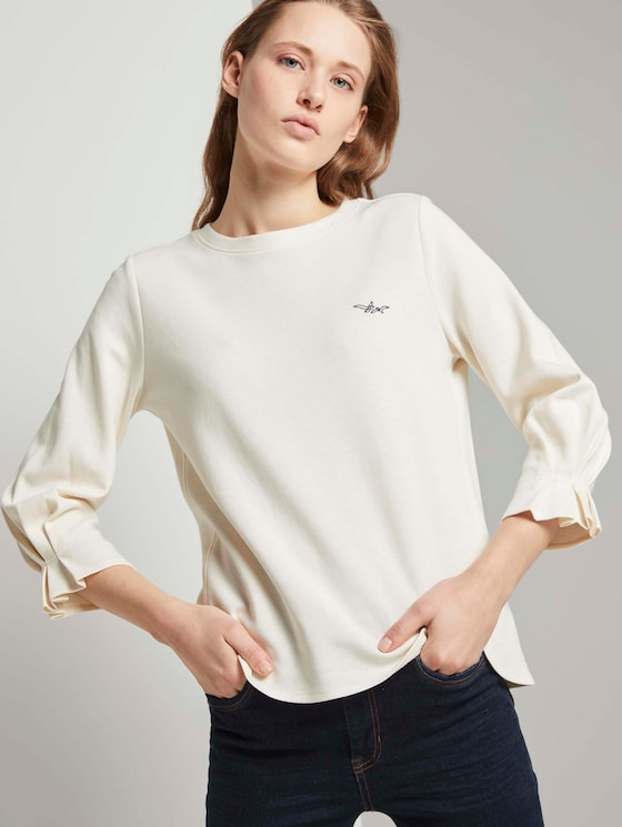 Sweatshirt mit Ärmeldetail - Frauen - Gardenia White - 5 - TOM TAILOR Denim