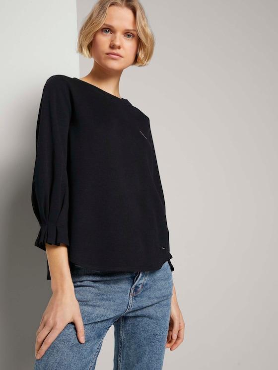 Sweatshirt mit Ärmeldetail - Frauen - Deep Black - 5 - TOM TAILOR Denim