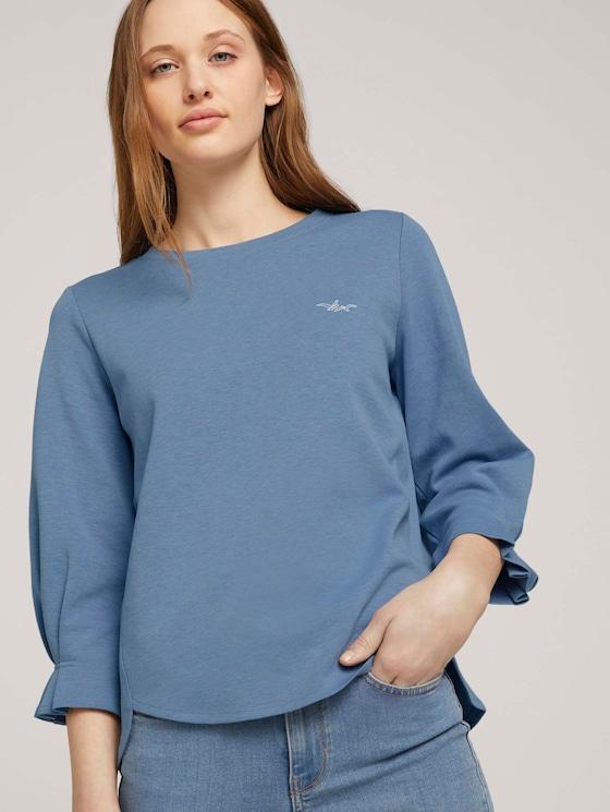 Sweatshirt mit Bio-Baumwolle  - Frauen - soft mid blue melange - 5 - TOM TAILOR Denim