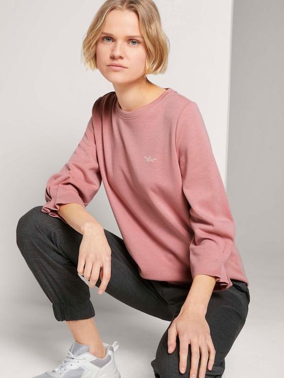 Ärmelfalten Sweatshirt mit Bio-Baumwolle  - Frauen - cozy rose - 5 - TOM TAILOR Denim