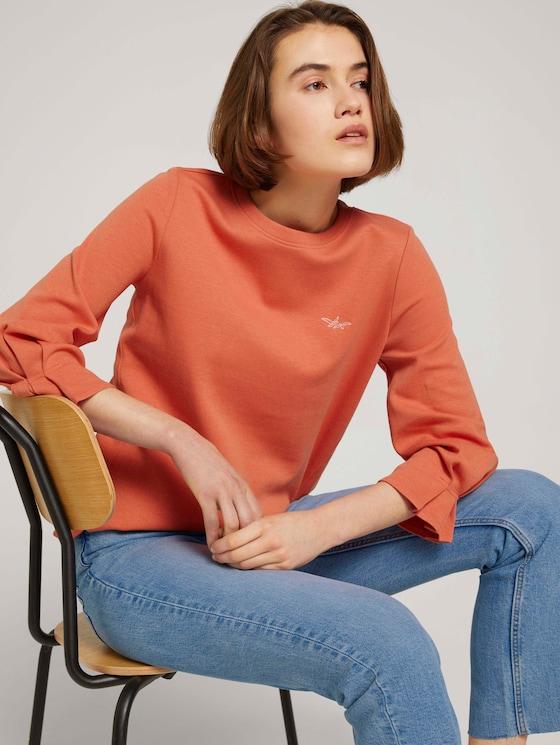 Sweatshirt mit Bio-Baumwolle - Frauen - sundown coral - 5 - TOM TAILOR Denim