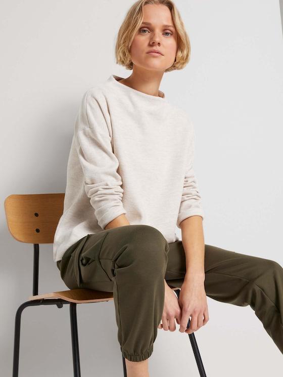 Sweatshirt mit kurzem Stehkragen - Frauen - creme beige melange - 5 - TOM TAILOR Denim