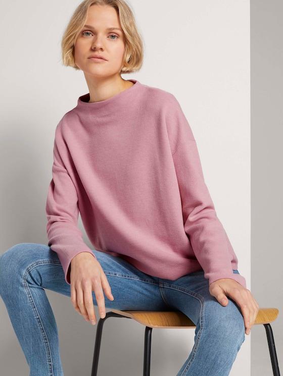 Sweatshirt mit kurzem Stehkragen - Frauen - cozy rose - 5 - TOM TAILOR Denim