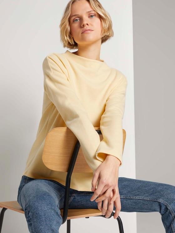 Sweatshirt mit kurzem Stehkragen - Frauen - soft yellow - 5 - TOM TAILOR Denim
