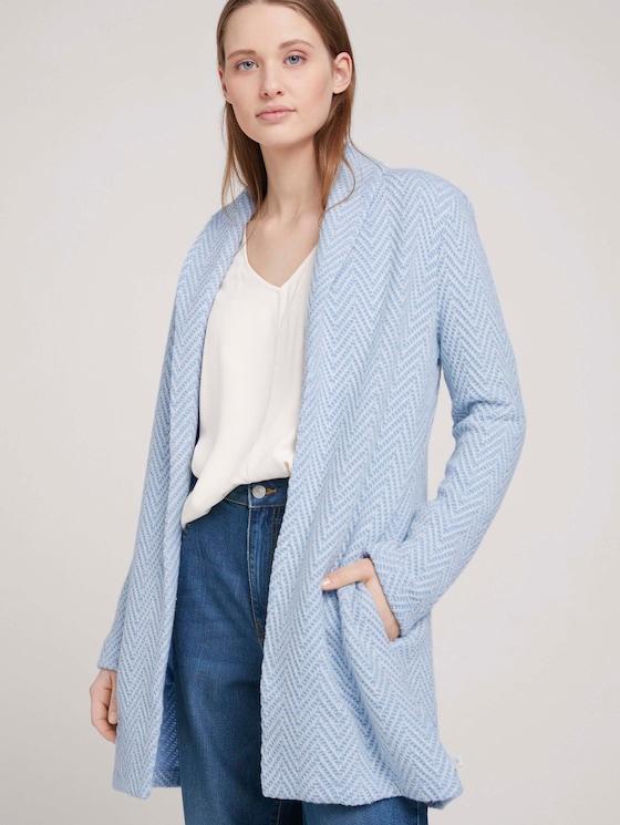 strukturierter Cardigan - Frauen - mid blue white structure - 5 - TOM TAILOR Denim