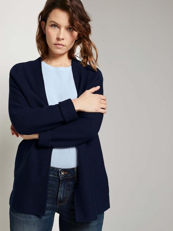 Strukturierter Cardigan mit Bio-Baumwolle - Frauen - Sky Captain Blue - 5 - TOM TAILOR