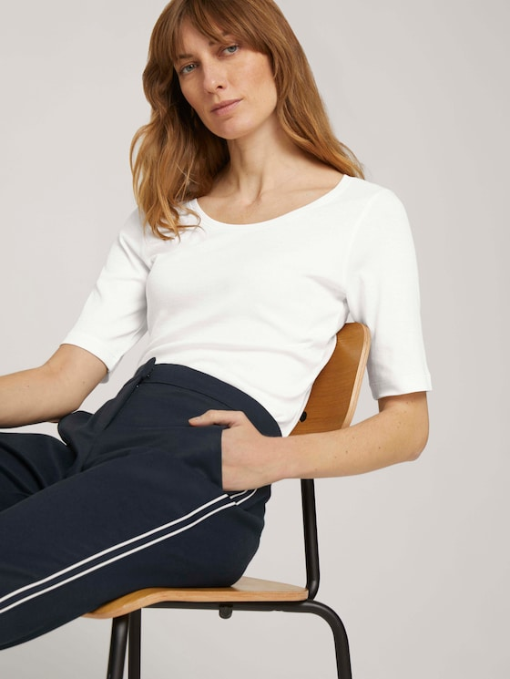 Basic T-Shirt mit Bio-Baumwolle - Frauen - Whisper White - 5 - TOM TAILOR