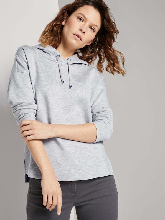 Hoodie mit Seitenschlitzen - Frauen - comfort grey melange - 5 - TOM TAILOR