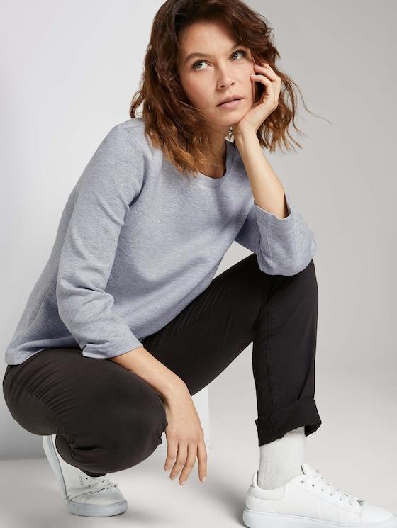 Basic Sweatshirt - Frauen - comfort grey melange - 5 - TOM TAILOR