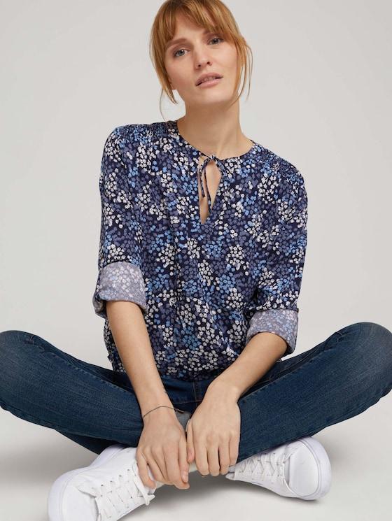 Bedrukte blousemet LENZINGTM ECOVEROTM - Vrouwen - navy multicolor flower design - 5 - TOM TAILOR