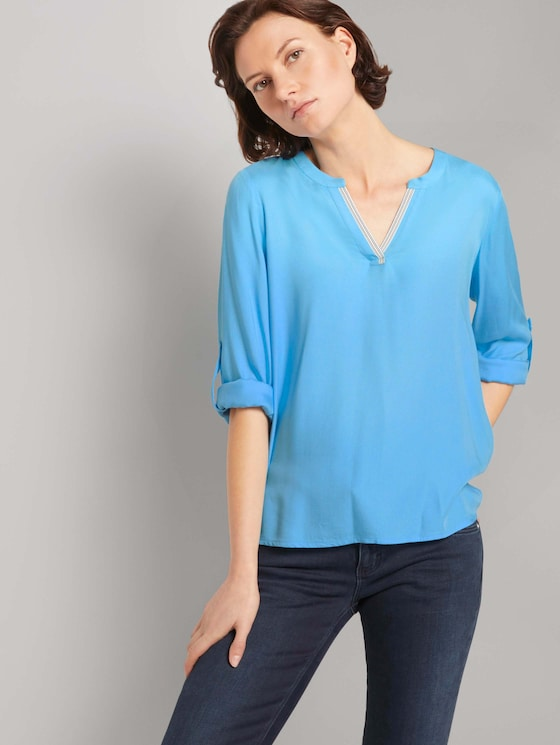 Pleated blouse made with LENZING™ ECOVERO™  - Women - Clear Light Blue - 5 - TOM TAILOR