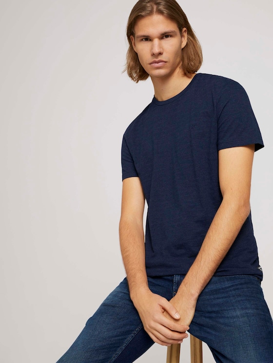 textured t-shirt with organic cotton - Men - Sky Captain Blue Non-Solid - 5 - TOM TAILOR Denim
