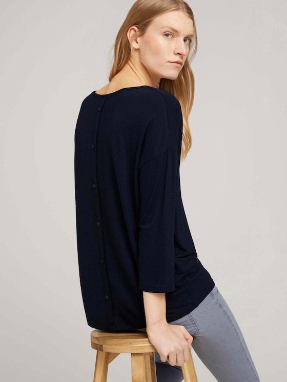 Strukturiertes Shirt im Loose Fit mit LENZINGTM ECOVEROTM  - Frauen - Sky Captain Blue - 5 - TOM TAILOR