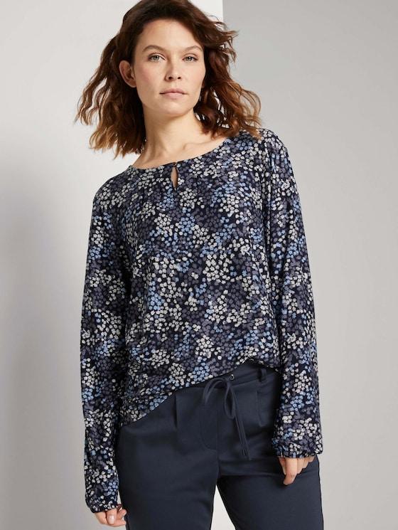 Gemustertes Blusenshirt mit LENZING™ ECOVERO™ - Frauen - navy multicolor flower design - 5 - TOM TAILOR