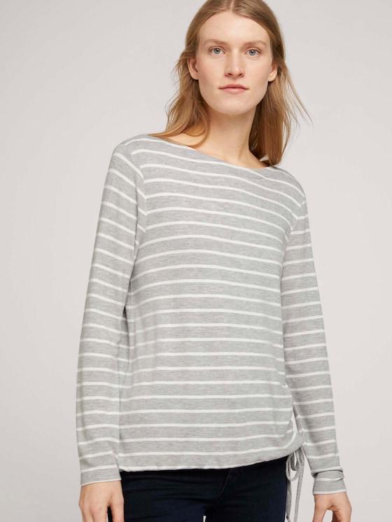 Gestreiftes Langarmshirt - Frauen - grey melange offwhite stripe - 5 - TOM TAILOR