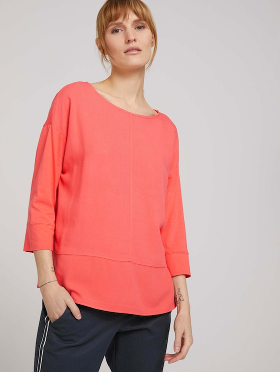 Loose Fit Shirt im Materialmix - Frauen - strong peach tone - 5 - TOM TAILOR
