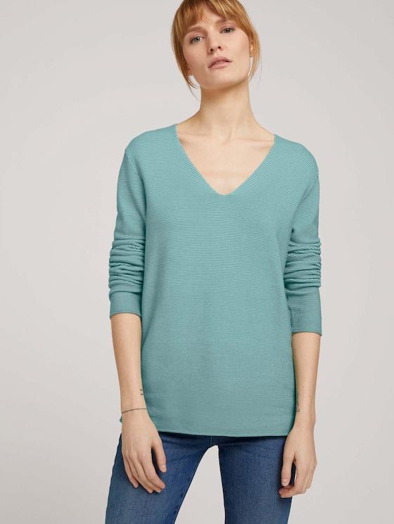 Strukturierter Pullover mit Bio-Baumwolle  - Frauen - soft leaf green - 5 - TOM TAILOR