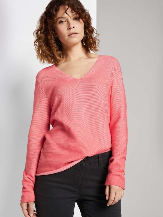 Strukturierter Pullover mit Bio-Baumwolle  - Frauen - strong peach tone - 5 - TOM TAILOR