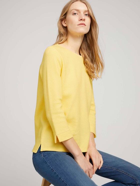 Strukturiertes Sweatshirt mit Seitenschlitzen - Frauen - yellow white mini structure - 5 - TOM TAILOR