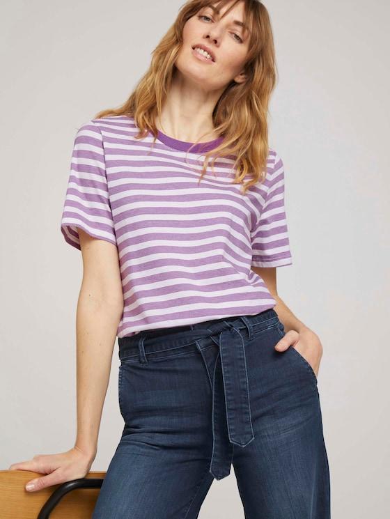 Gestreiftes T-Shirt aus Bio-Baumwolle - Frauen - lilac offwhite stripe - 5 - TOM TAILOR