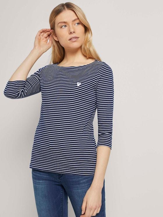 Gestreiftes Shirt - Frauen - navy white small stripe - 5 - TOM TAILOR