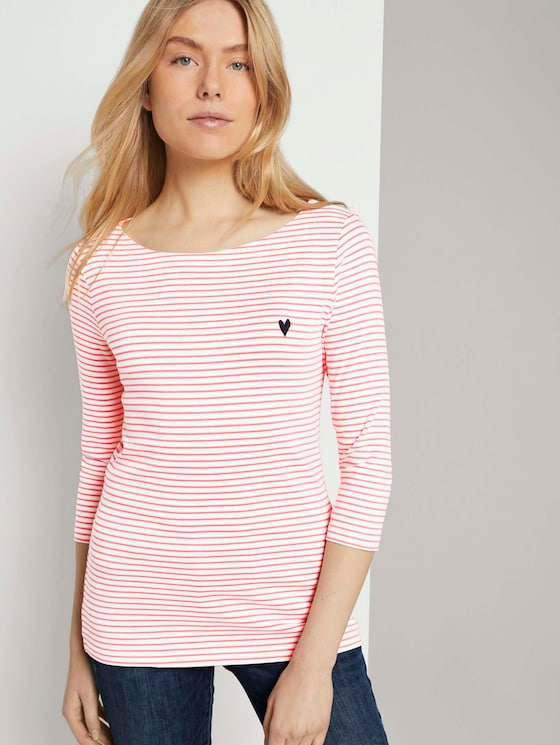 Gestreiftes Shirt mit kleiner Stickerei - Frauen - white peach small stripe - 5 - TOM TAILOR