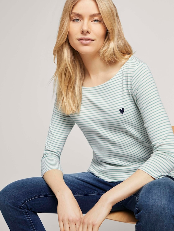 Gestreiftes Shirt mit kleiner Stickerei - Frauen - white green small stripe - 5 - TOM TAILOR