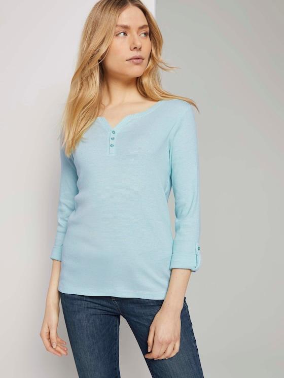 Gestreiftes T-Shirt mit Bio-Baumwolle - Frauen - offwhite green small stripe - 5 - TOM TAILOR