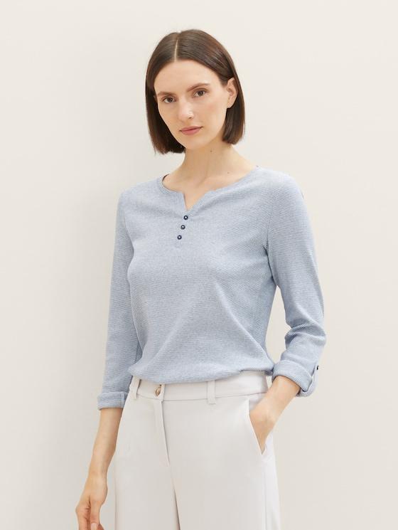 Gestreiftes Henley Shirt - Frauen - offwhite navy small stripe - 5 - TOM TAILOR