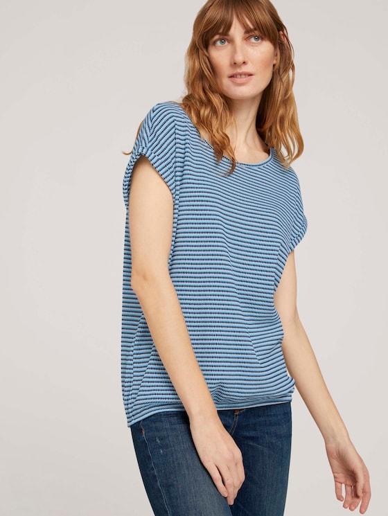 Strukturiertes T-Shirt mit Bio-Baumwolle   - Frauen - blue navy popcorn structure - 5 - TOM TAILOR