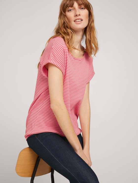 Strukturiertes T-Shirt mit Bio-Baumwolle  - Frauen - peach navy popcorn structure - 5 - TOM TAILOR