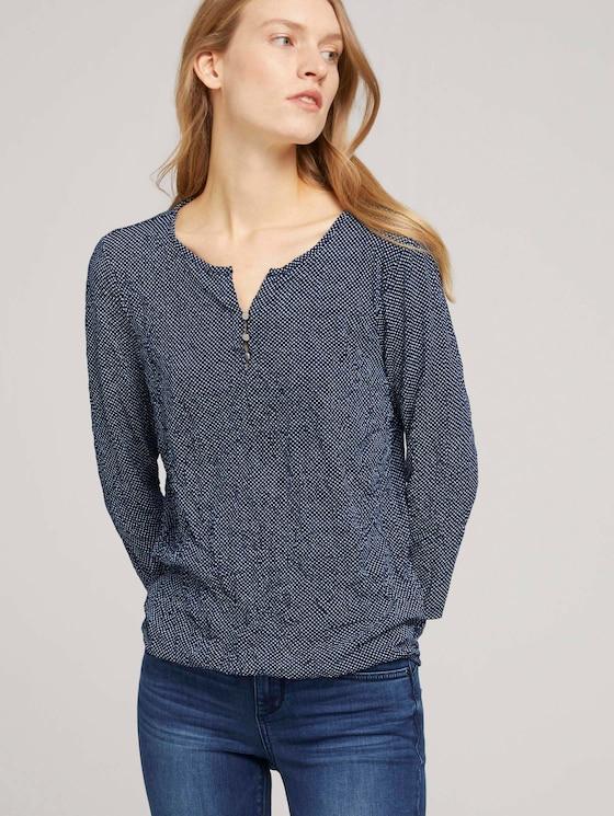 gemustertes T-Shirt mit elatsischem Saum - Frauen - navy dot print - 5 - TOM TAILOR