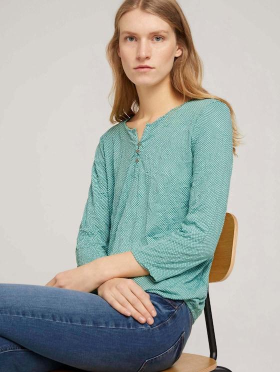 gemustertes T-Shirt mit elastischem Saum - Frauen - green white minimal design - 5 - TOM TAILOR