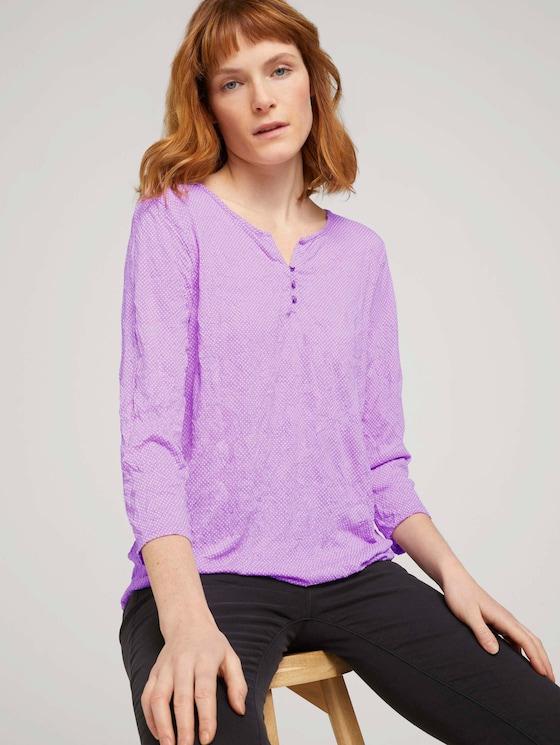 gemustertes T-Shirt mit elatsischem Saum - Frauen - lilac dot design - 5 - TOM TAILOR