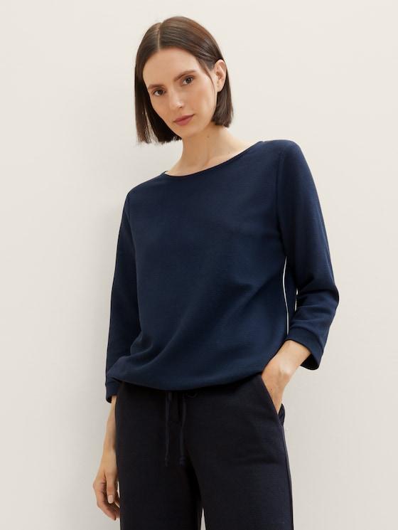 Strukturiertes Shirt mit Tunnelzug - Frauen - Sky Captain Blue - 5 - TOM TAILOR