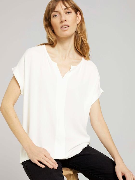 Henley T-Shirt im Materialmix - Frauen - Whisper White - 5 - TOM TAILOR