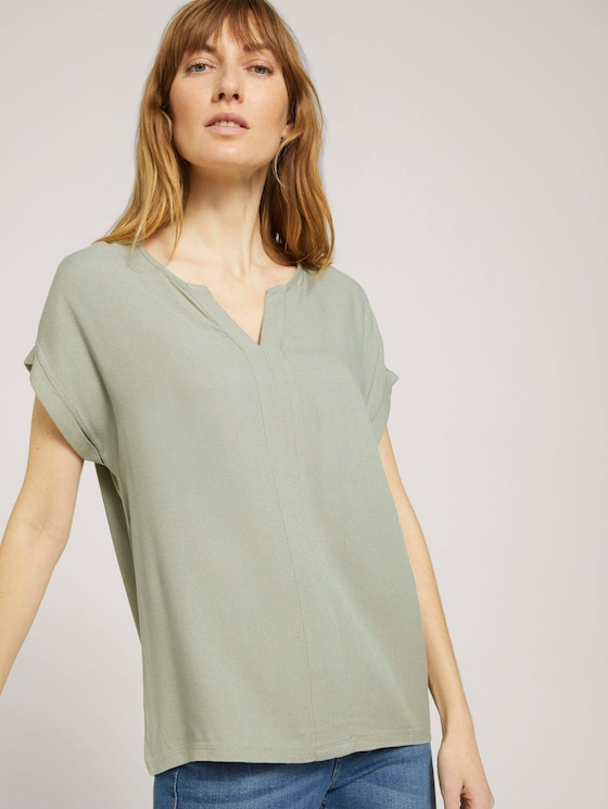 Henley T-Shirt im Materialmix - Frauen - Prairie Grass Green - 5 - TOM TAILOR